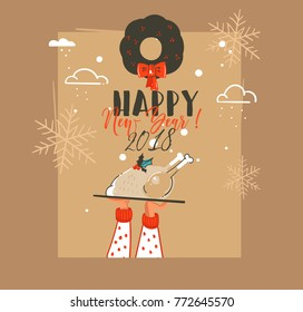 Hand drawn vector abstract Merry Christmas and Happy New Year time retro vintage cartoon illustrations greeting card with hand who holding turkey plate and mistletoe isolated on brown background.