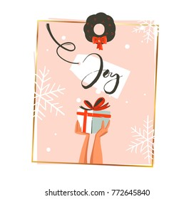 Hand drawn vector abstract Merry Christmas and Happy New Year time retro cartoon illustrations greeting card with people hands who holding surprise gift box and mistletoe isolated on pink background.