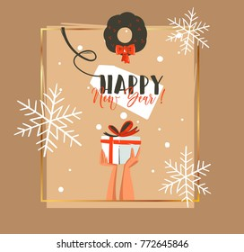 Hand drawn vector abstract Merry Christmas and Happy New Year time retro cartoon illustrations greeting card with people hands who holding surprise gift box and mistletoe isolated on craft background.