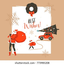 Hand drawn vector abstract Merry Christmas and Happy New Year time vintage cartoon illustrations greeting card template with Santa Claus family people walkin and red car isolated on white background.