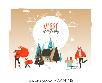 Hand drawn vector abstract Merry Christmas and Happy New Year time cartoon illustrations greeting card template with outdoor landscape,house and Santa Claus family isolated on white background.