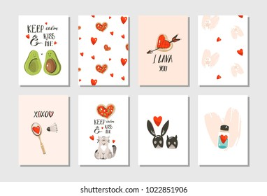 Hand drawn vector abstract modern cartoon Happy Valentines day concept illustrations cards set collectionwith cute cats,pizza,hearts,avocado and handwritten calligraphy isolated on white background.