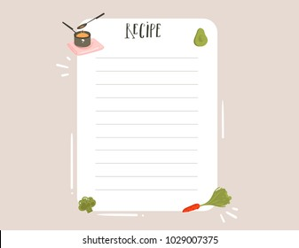 Hand drawn vector abstract modern cartoon cooking studio illustrations recipe card templete with handwritten calligraphy isolated on white background.