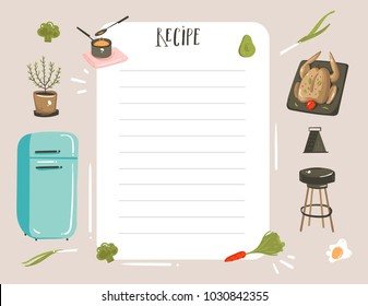 Hand drawn vector abstract modern cartoon cooking studio illustrations recipe card planner templete with food,vegetables and handwritten calligraphy isolated on white background.
