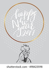 Hand Drawn Vector Abstract Modern Card Template With Handwritten Lettering Happy New Year 2017 Phase And
