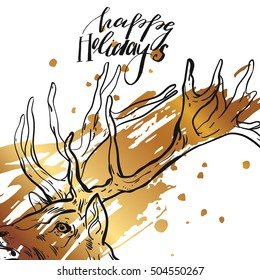Hand Drawn Vector Abstract Modern Gold Christmas Greeting Card Template With Graphic Deer Head And Handwritten