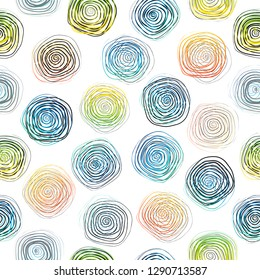 Hand drawn vector abstract rough geometric seamless spiral pattern. Concept design for fashion, fabric