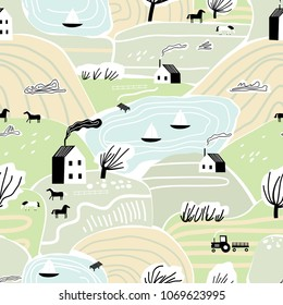 Hand drawn vector abstract scandinavian graphic illustration seamless pattern with house, trees and hills. Nordic nature landscape concept. Perfect for kids fabric, textile, nursery wallpaper.