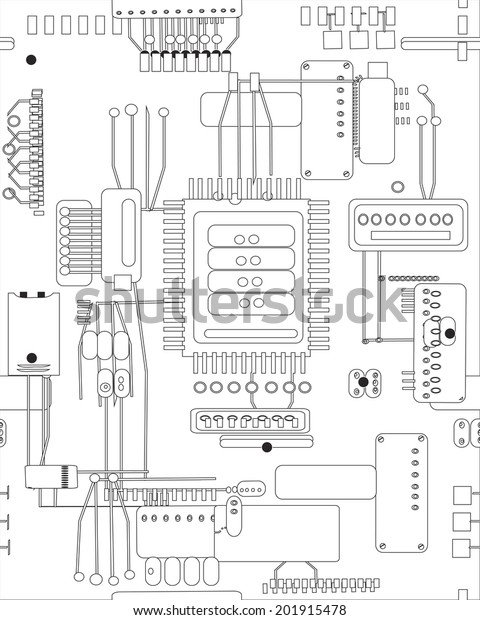 Hand Drawn Vector Abstract Schematic Circuit Stock Vector ... on