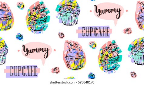 Hand drawn vector abstract seamless artistic abstract creative colorful cupcakes and berries pattern isolated on white background.Sweet food decoration for fabric,wrapping,label,design,logo,birthday