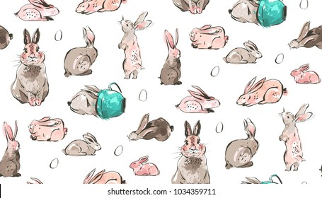 Hand drawn vector abstract sketch graphic scandinavian freehand textured modern collage Happy Easter cute simple bunny illustrations seamless pattern and Easter eggs isolated on white background.