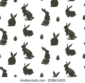 Hand drawn vector abstract sketch graphic scandinavian freehand textured modern collage Happy Easter cute simple bunny,eggs illustrations silhouette seamless pattern isolated on white background.