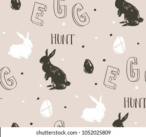 Hand drawn vector abstract sketch graphic scandinavian freehand textured modern collage Happy Easter cute simple bunny illustrations seamless pattern and Easter eggs isolated on grey background.
