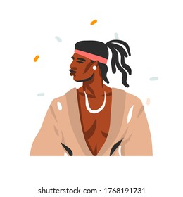 Hand drawn vector abstract stock graphic illustration with young happy black african american beauty man portrait , in fashion outfit isolated on white background