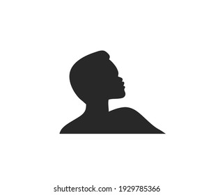 Hand drawn vector abstract stock flat graphic illustration with logo element of african american person character silhouette art in simple style isolated on white background