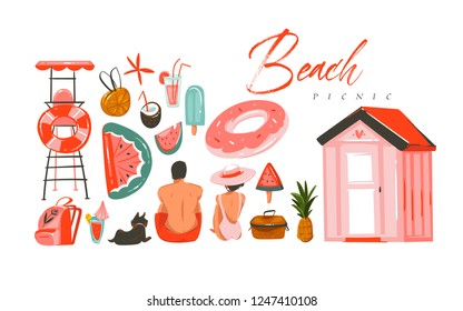 Hand drawn vector abstract Summer time illustrations collection set with boy and girl characters sitting on the beach shore,swimming buoy rubber rings and picnic objects isolated on white backhrouns