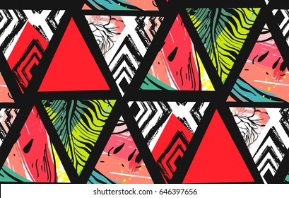 Hand drawn vector abstract summer time collage seamless pattern with watermelon,aztec and tropical palm leaves motif isolated.Unusual decoration for wedding,birthday,fashion fabric,save the date.