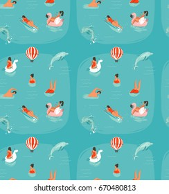 Hand drawn vector abstract summer time fun seamless pattern with swimming happy people in sea water with jumping dolphins isolated on blue background.