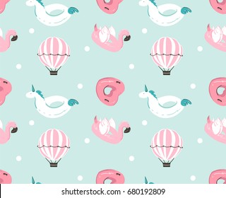 Hand drawn vector abstract summer time fun seamless pattern with pink flamingo float, unicorn swimming pool buoy ,heart shape circle and hot air balloon isolated on blue water background.