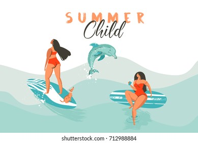 Hand drawn vector abstract summer time funny illustration poster with surfer girls in bikini with dog on blue ocean waves texture and modern calligraphy quote Summer Child.
