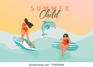 Hand drawn vector abstract summer time funny illustration poster with surfer girls in bikini with dog on blue ocean waves texture,sunset and modern calligraphy quote Summer Child.