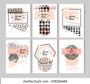 Hand drawn vector abstract textured minimalist template cards set with place for your text,in pastel colors.Abstract brush textured minimal posters.Design for greeting,decoration,print.