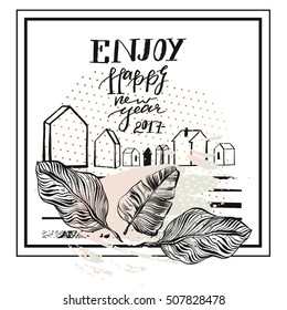 Hand Drawn Vector Abstract Textured Greeting Card Template Design With Handwritten Ink Modern Lettering Phase Enjoy