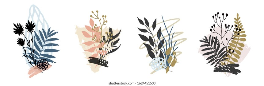 Hand drawn vector abstract tropical leaves background isolated on white. Vector hand draw tropical leaves  background  for paper, cover, fabric, interior decor.