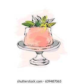 Hand drawn vector abstract watercolor textured cake on cake stand with lemon,flowers and leaves in peach colors isolated on white background.