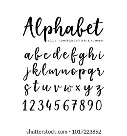 Hand drawn vector alphabet. Brush script  font. Isolated lower case letters and numbers written with marker or ink. Calligraphy, lettering.