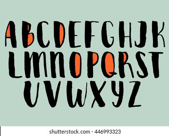 Hand drawn vector alphabet calligraphy letters stock vector