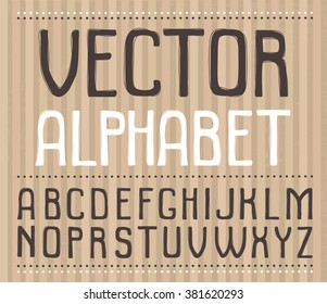 Hand drawn vector alphabet. Cute and funny font for your design.