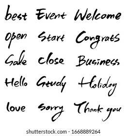 Hand drawn vector alphabet. English calligraphy vector illustration. Hand lettering collection.