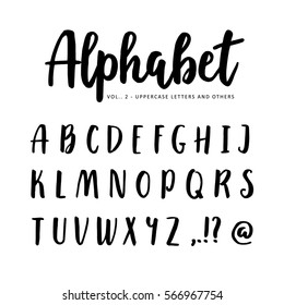Hand drawn vector alphabet, font. Isolated letters written with marker or ink. Brush script.
