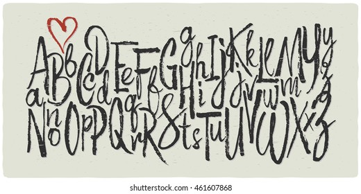 Hand drawn vector alphabet. Letters made with a dry calligraphic brush.
