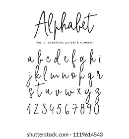 Hand drawn vector alphabet. Modern monoline signature script  font.  Isolated lower case letters and numbers written with marker or ink. Calligraphy, lettering.