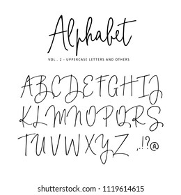 Hand drawn vector alphabet. Modern monoline signature script  font. Isolated upper case letters, initials written with marker, ink. Calligraphy, lettering.
