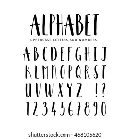 Hand drawn vector alphabet. Sans Serif brush font. Isolated letters, numbers  written with marker, ink. Calligraphy, lettering.