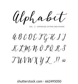 Hand drawn vector alphabet. Script font. Isolated letters written with marker, ink. Calligraphy, lettering.