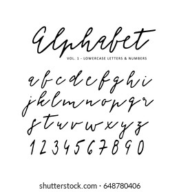 Hand drawn vector alphabet. Signature script font. Isolated letters written with marker, ink. Calligraphy, lettering.