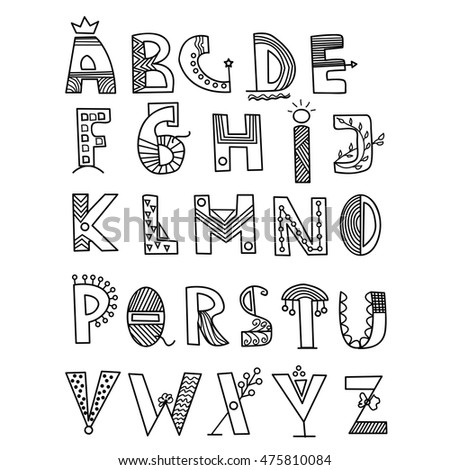 Alphabet Style hand drawn vector alphabet writing style stock vector (royalty free