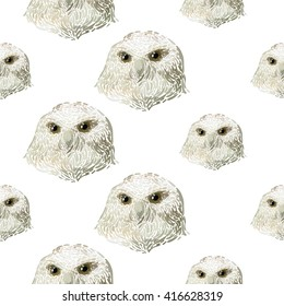 Hand drawn vector amazing animal illustration portrait snowy owl. Beautiful art with wild owl bird. Seamless pattern white background. Design for textile print, paper, web, card