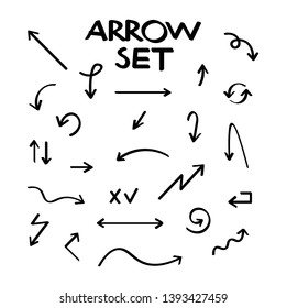 Hand drawn vector arrow collection, sketched style. Vector illustration.