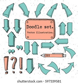 Hand drawn vector arrows collection, doodle illustration. Colorful arrows quote, banner, pen sketch vector set. Hand drawn vector shapes. Simple Doodle style decorative elements for infografic.