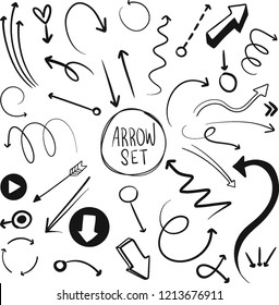 Hand drawn vector arrows set. Doodle arrows pack on white background. Creativity and business project.