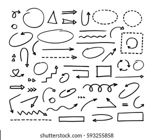 Hand drawn vector arrows set on white background.