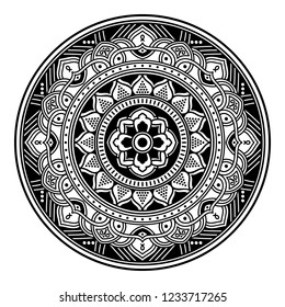 Hand drawn vector background. Ethnic mandala ornament, circular decorative element. Can be used for coloring book, greeting card, phone case print, etc. Vector illustration EPS 10.