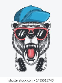 Hand drawn vector bear illustration for t-shirt prints, posters and other uses.