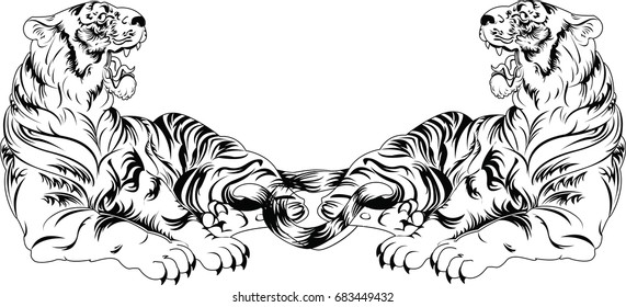 Hand drawn vector black and white tigers