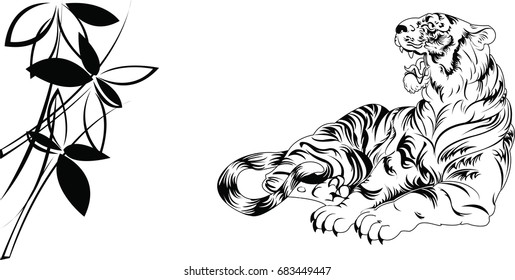 Hand drawn vector black and white tiger with bamboo